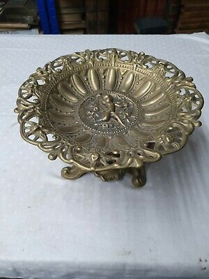 Vintage Art Nouveau Solid Brass Dish - Decorated With Ornate Cherub (9)