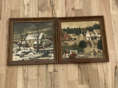 Kay Dee Hand Prints 100% Pure Linen Wood Framed Water Wheel And Farm Scene