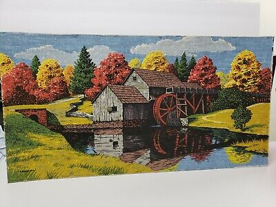 Vintage R. Batchelder 100% Pure Linen Mounted Print Fall  Foliage Old Mill