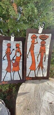 Vintage Batik Fabric Art Signed By Val African Women Baby Shopping Working