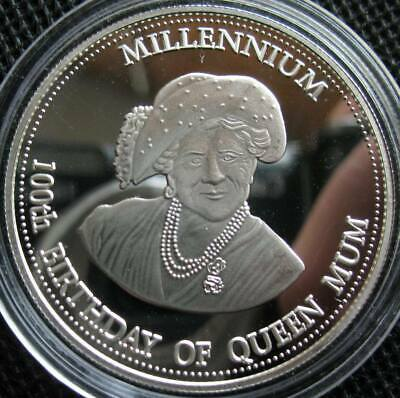 Zambia 1000 Kwacha 2000 Silver Proof Coin Millennium 100th Birthday of Queen Mum