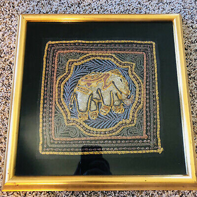 "VTG 15x15"" Ornate Elephant Stiched Sequin Gold Frame With Glass Textile Art"