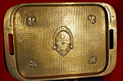 1900 Art Nouveau Copper Tray Cow Fleur Lis Sauveterre De Bearn Medieval Shield