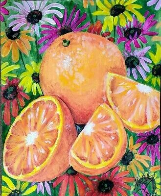 Original hand signed artwork by Nan Cathy Acrylic Oranges and Daisies 11 X 14