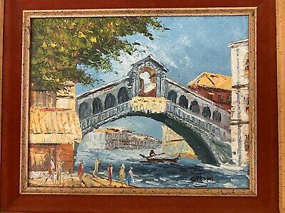 1960's Framed Oil On Canvas-noted US artist David Cresp- Gondolier in Venice