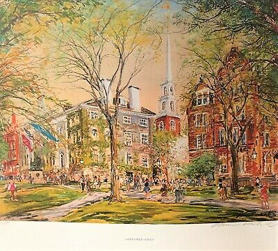 Harvard Yard Artist Proof Watercolor Giclee By Kamil Kubik - Signed And Unframed