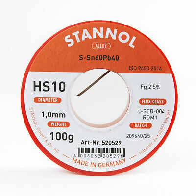 Solder wire 1.0mm 100g with flux 2.5% HS10 Stannol for soft soldering