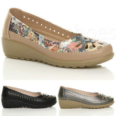Womens ladies low mid wedge cut out summer work slip on comfort dolly shoes size