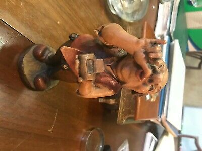 German Hand-Carved Wooden Figure Sniff the Snuff