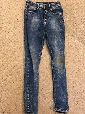 Next Skinny Boys Blue Jeans Age 10-11 /11-12 With Button And Zip Fly Denim