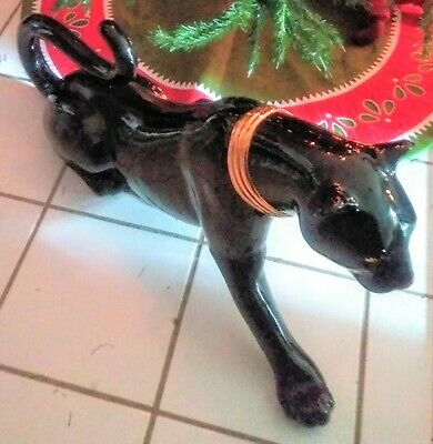 "Black Panther Figurine Vintage/ collectable Ceramic 36"" or 3ft. Gold collar"