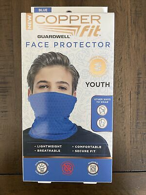 Copper Fit Junior Youth 8+ Face Mask Cover Blue Color New In Box