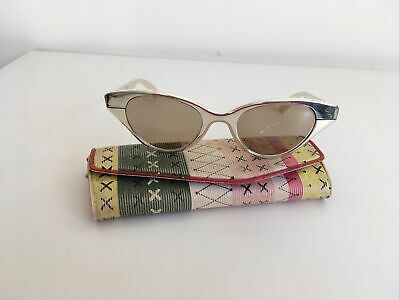 Flair Vintage 50's Sunglasess Cat Eye, Silver Metal, With Case