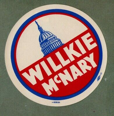 Willkie McNary old USA political campaign paper label RARE   must see  *#031