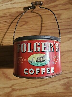 Vintage Folgers 1946 Coffee Tin 1 Lb. with Spiral Handle -Ship,Yellow Lilies