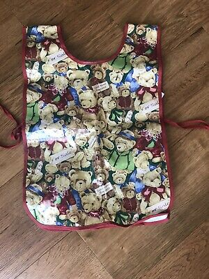Teddybears Pvc Childrens Double Front& Back Apron Used Vgc Suit Age 2-6