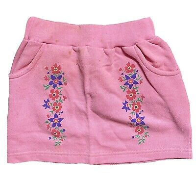Vintage Girls Pink Skirt With Flowers & Pockets Age 4-5yrs