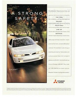 """Vintage 1996 MITSUBISHI GALANT Print Ad / Poster 8x 11 """"A Strong Safety"""" Auto"""