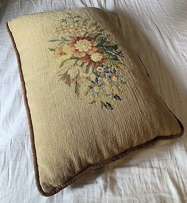 Antique Victorian Needlepoint Accent Throw Pillow Petit Point Floral Embroidered