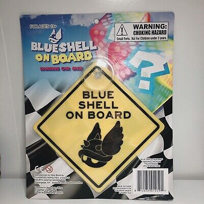 Mario Kart Nintendo Blue Shell On Board Hanging Car Sign - FREE SHIPPING