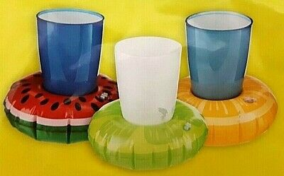 3 Inflatable WATERMELON/LEMON/LIME Cup Drink Holder Summer Beach/Garden Party