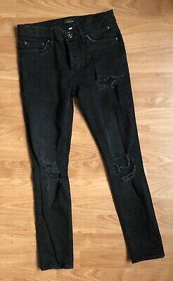 River Island Mens/ Older Boys Ripped Black Stretch Skinny Jeans Size W26 L28 Vgc