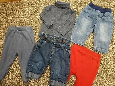 0-3 months Boys bundle Jeans Joggers Long Sleeve T Shirt Next red blue