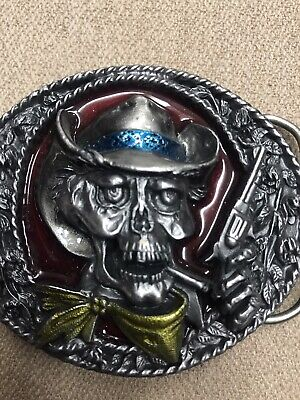 SKULL Skeleton Cowboy Belt Buckle (15/5)By Bergamont 1993 Gothic