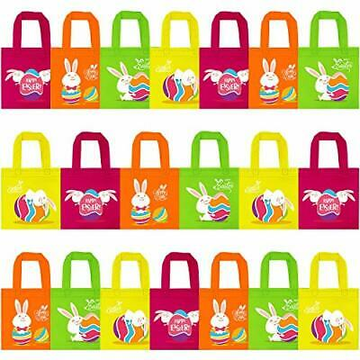 Elcoho 20 Packs Non-woven Bags Easter Gift Tote Bags Bunny Bags Easter Egg Hunt