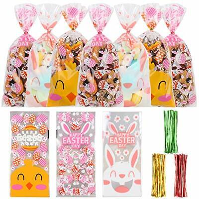 SULOLI Easter Cellophane Bags, 120 Pack Easter Gift Sweet Treat Bags with 150