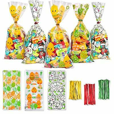 DERAYEE 150 Pieces Easter Cellophane Bags Party Bags Sweet Candy Bags with 300