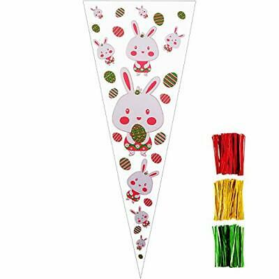 100 Pieces Easter Cone Bags Treat Bags Goodies Clear Cellophane Bags with 150