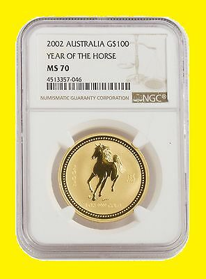 2002 Chinese Lunar Year of the HORSE NGC MS 70 AUSTRALIA 1 OZ 9999 GOLD SUPERB