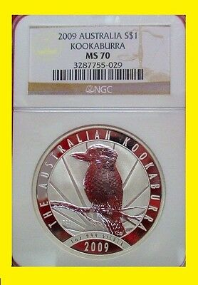 2009  Australia 1 oz silver  Kookaburra PERFECT NGC MS 70 NEW NO SPOTS