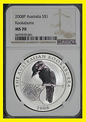 2008  Australia Kookaburra RARE low pop perfect NGC MS 70