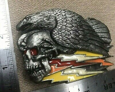 Vintage 1991 Eagle And Skull Metal Belt Buckle 14/5).