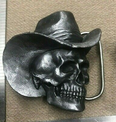 Vintage 1981 Cowboy Skull Metal Belt Buckle 14/3