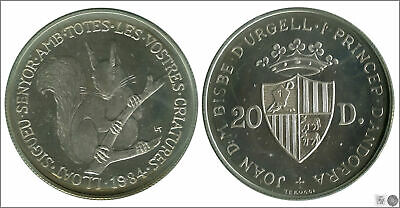 Andorra Currency 20 Diners 1984/Squirrel/16 Gr. Silver / IN Capsule Proof KM0