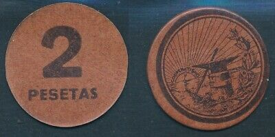 Spain 2 Pesetas The Flower Of May, About Cardboard Brown, Coincidente. S/C / A