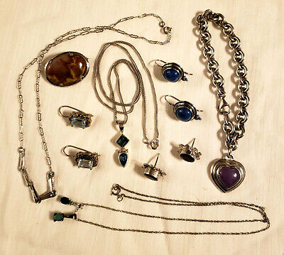 Mixed Lot of Sterling Silver 925 Earrings Necklaces Pin Jewelry - 65 gr.