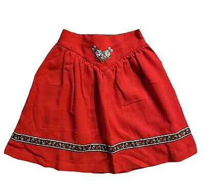 Vintage Traditional Dutch Folk Style Girls Red Skirt With Embroidery Age 5-6yrs