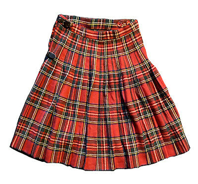 Vintage Kids Harrods Wool Tartan Kilt Skirt With Pin Age 13yrs