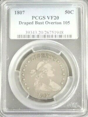 1807 Silver Draped Bust Half Dollar (50C) Coin Overton 105 PCGS VF20