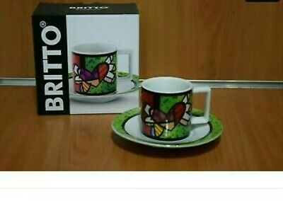 ROMERO BRITTO Tazzina Caffè  Coffee Cup Art Collection Originale cuore offerta