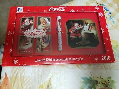 COCA - COLA LIMITED EDITION COLLECTIBLE WRITING SET 2018 & forever Stamps usps