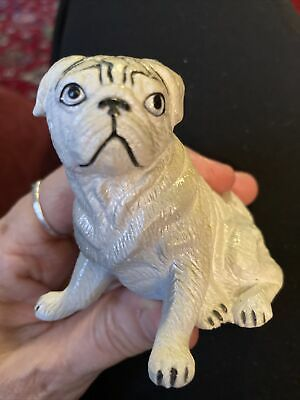 """Vintage New-Ray Soft Rubber Pug Dog Toy Figure Super Cute 2 1/4"""" Tall"""