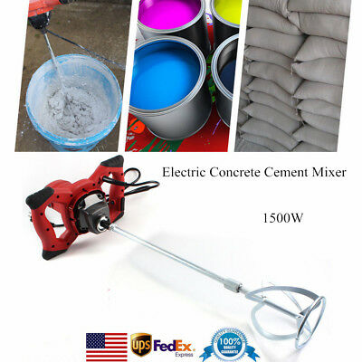1500W Handheld Industrial Electric Concrete Cement Mixer Mixing Mortar 6Speed US