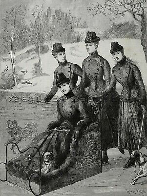 Dog Pug & Queen Alexandra & Daughters Sledding, Large 1880s Antique Print