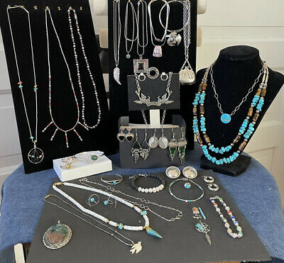 Sterling Silver .925 Turquoise Semi precious Jewelry lot Ring Chains - 391 grams