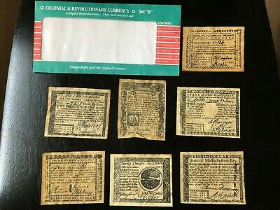 "Vintage Colonial and Revolutionary Currency 1778-1781 Antiqued Reproductions ""B"""